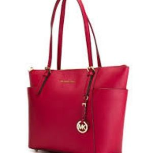 Micheal Kors Red Jet Set Ez TZ Tote